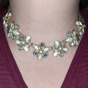 Gold chain with white flower necklace